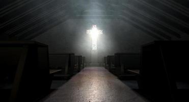 Glasfenster Kruzifix Kirche foto