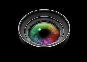 schwarzes Kameraobjektiv mit mehrfarbigem Auge foto