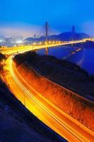 Ting Kau Brücke bei Sonnenuntergang foto