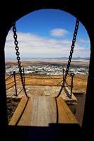 Zugbrücke Lanzarote Owr und Tür in Teguise Arre foto