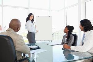 Geschäftsfrau hält eine Präsentation, während ihre Mitarbeiter ihr zuhören