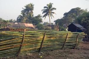 Bambus-Materialstapel für Gebäude in Asien, Indien foto