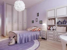 Schlafzimmer mit Kleiderschrank und Spielzeug foto