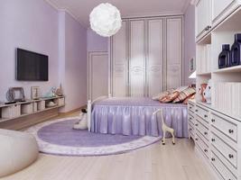 Idee eines hellen Schlafzimmers für Mädchen foto