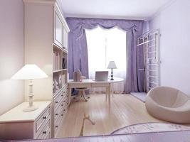 helles Wohnzimmer mit Ottomane und Wandstangen foto