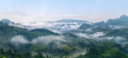 Panoramablick auf die Stadt Lao Cai, nordwestlich von Vietnam