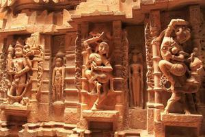 dekorative Schnitzerei von Jain Tempeln, Jaisalmer, Indien foto
