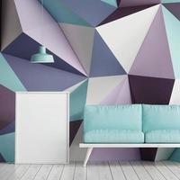 Mock-up-Poster auf Dreieck Patten Form, 3D-Illustration