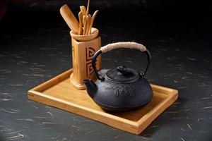 Anzeige der alten chinesischen Teekanne foto