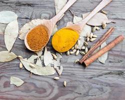 Currypulver in Löffeln auf einem Holztisch ausgelegt foto