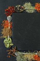 verschiedene Gewürze (Paprika, Kurkuma, Pfeffer, Anis, Zimt, Safran) foto