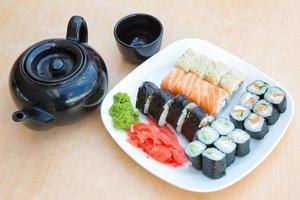 schwarzer Wasserkocher, schwarze Tasse und Teller mit Brötchensatz