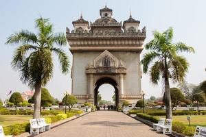Patuxai-Tor im Thannon Lanxing-Bereich von Vientiane foto