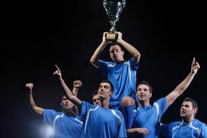 Fußballspieler feiern den Sieg