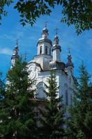 Kirche mit Bäumen eingerahmt foto