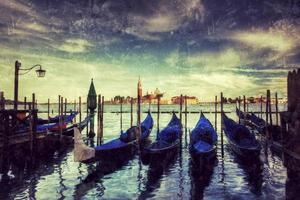 Gondeln auf dem Grand Canal Retro-Stil, Venedig, Italien. foto