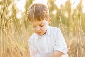 Kind im Feld, das mit Spitzen am Sommersonnenuntergang spielt