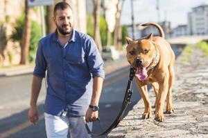 Mann geht mit seinem Hund.