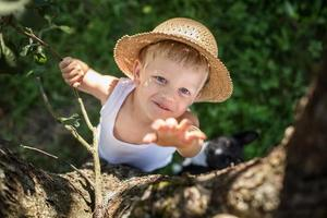 Kind mit Strohhut klettert auf einen Baum foto