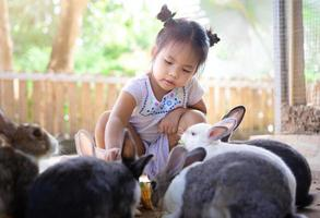 kleines asiatisches Mädchen, das Kaninchen auf einer Farm füttert foto