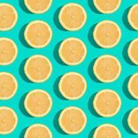 Nahtloses Muster der Zitronen-Zitrusfrüchte auf grünem türkisfarbenem minimalem Hintergrund foto