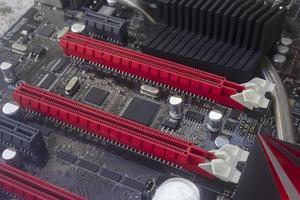 Computer-Motherboard, Seitenansicht foto