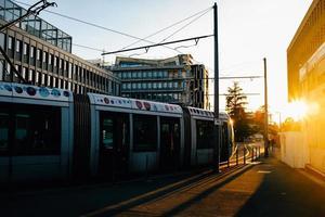 Stadtbild von U-Bahnwagen foto