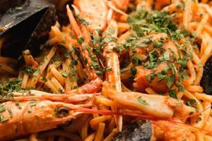 Meeresfrüchte Pasta hautnah