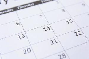 Nahaufnahme eines Kalenders foto