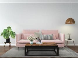 Wohnzimmer mit rosa Sofa