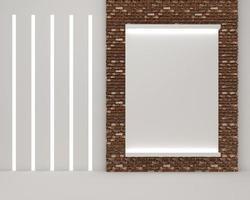 3D-Rendering des Bilderrahmens an der Wand