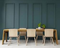 Esstisch im grünen Raum im Art-Deco-Stil