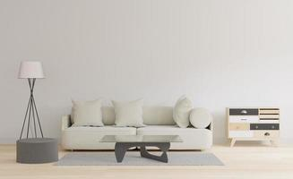 modernes Wohnzimmer mit Tisch und Teppich, japanisches minimales 3D-Konzept