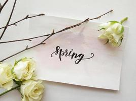 Frühlingsschild mit weißen Blumen foto