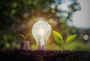 Energiesparende Glühbirne und Stapel von Münzen auf schmutzigem Boden foto