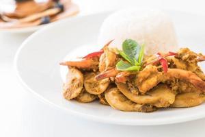 gebratene Garnelen und grünes Curry umrühren foto