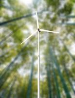 grüne unscharfe Hintergrundwindkraftanlagen foto