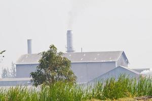 Rauch, der durch die Schornsteine der Papierfabrik erzeugt wird