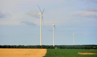 Windkraftanlagen auf einem Feld foto