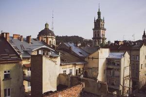 Blick vom Dach am Morgen foto