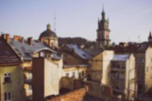 Blick vom Dach am Morgen. Unscharfer Hintergrund foto