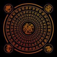 braune Runen auf schwarzem Hintergrund foto