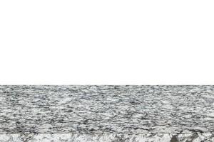 Oberseite des Natursteintisches oder der Theke lokalisiert auf Weiß