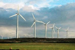 Eolic Park mit Windmühlen foto