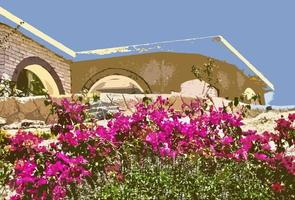 abstraktes Haus und Garten
