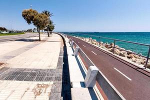 die Aussicht auf das Meer und die Promenade mit Palmen foto