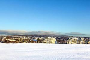 Morgen mit Schnee und Mais von der letzten Ernte bedeckt foto