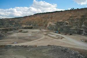 Luftaufnahme des Tagebaus foto