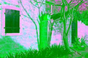 Detail der dalmatinischen Steinfassade foto