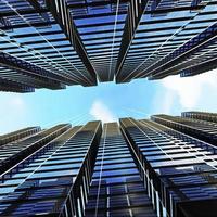 Panorama- und perspektivische Weitwinkelansicht auf Stahl hellblau foto